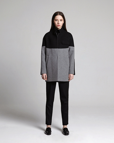 TWO TONE LOOSE COAT (GREY)
