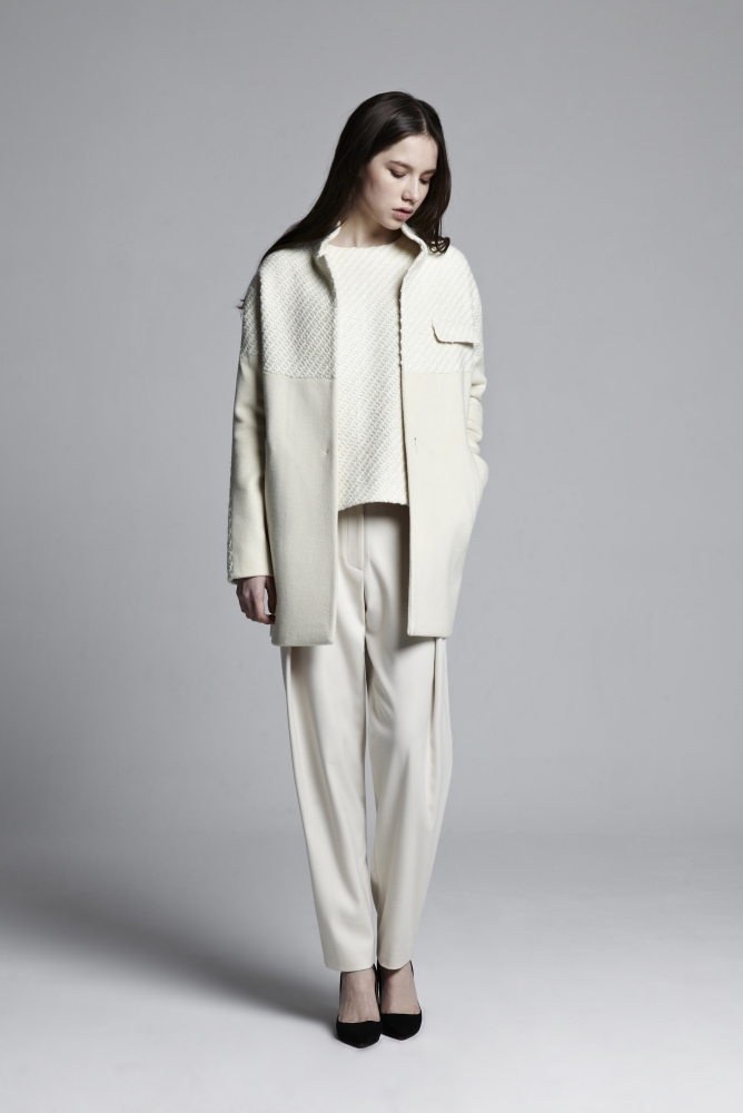 TWO TONE LOOSE COAT (IVORY)