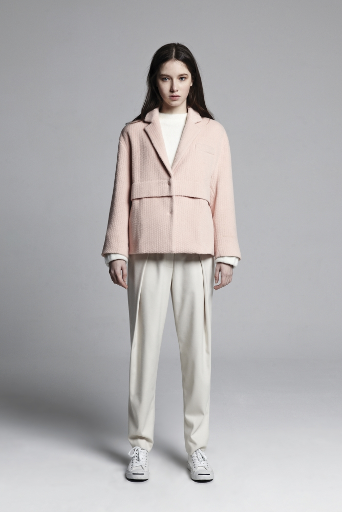 OVER FIT LAYERED COAT (LIGHT PINK)