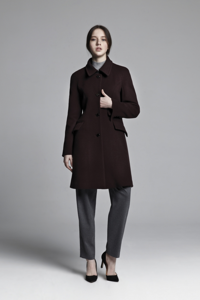 BACK FLARE SILHOUETTE COAT (WINE)