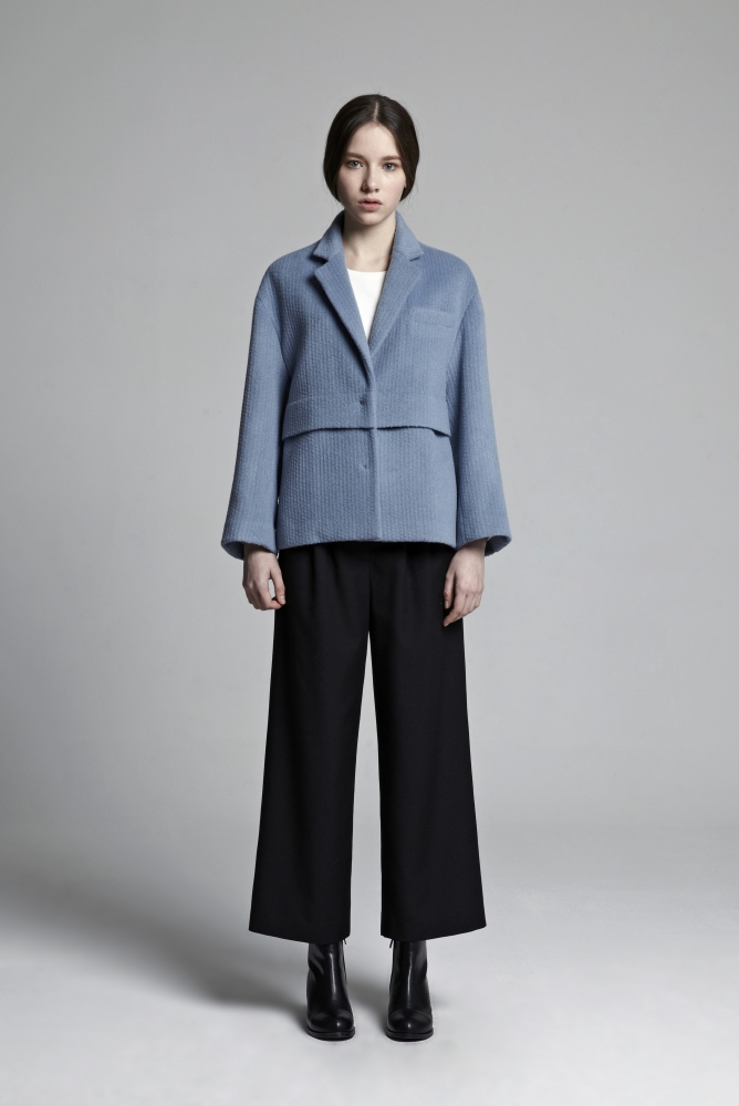 OVER FIT LAYERED COAT (STEEL BLUE)